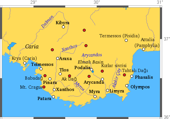 Main sites on the Lycian way